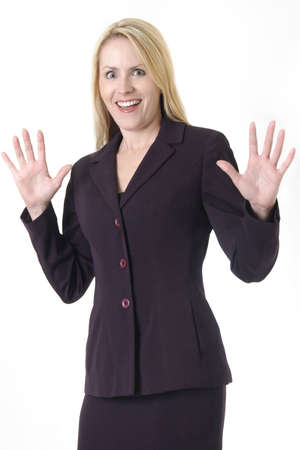 Business woman with hands up expression being stay back or stop Stock Photo - 302480