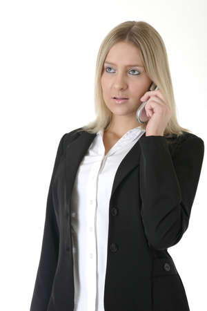 business woman talking on cell phone on white Stock Photo