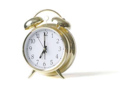 Gold alarm clock isolated on white Stock Photo - 328218