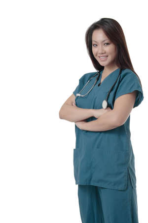 attractive asian nurse standing on white Stock Photo - 368469