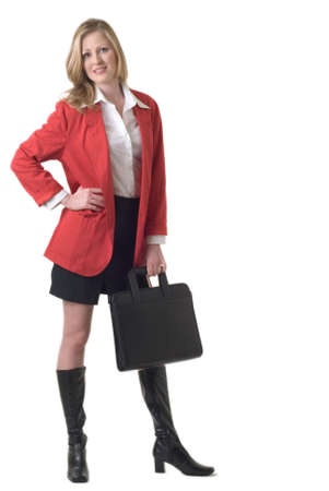 Attractive business woman in red blazer standing on white holding a briefcase