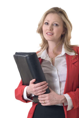 blazer: Confident business woman on white wearing red blazer holding portfolio