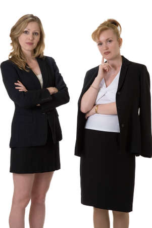 Confident business women on white wearing business suit photo
