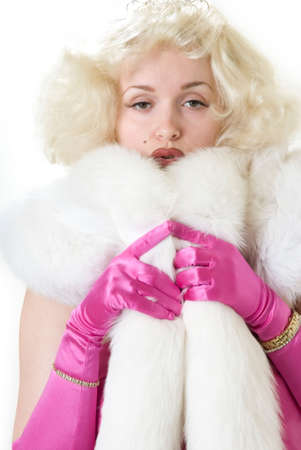 Sexy Marilyn impersonator wearing the dress white wolf fur photo