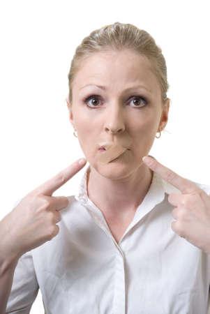 womans mouth bandaged up on white