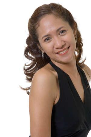 Pretty woman wearing sexy black dress photo
