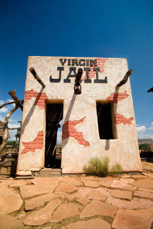 Old western style jail in old ghost town