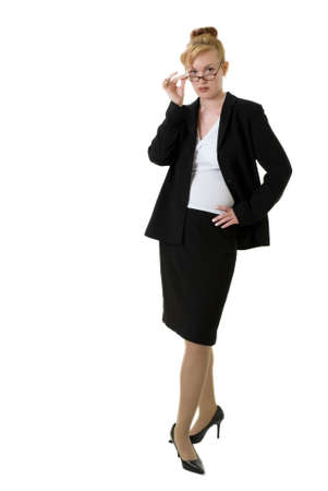 Confident business woman with glasses on white wearing business suit photo