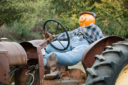 drivers seat: Pumpkin head scarecrow sitting in drivers seat of old tractor Stock Photo