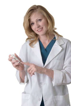 pharmacist: Attractive smiling woman pharmacist on white holding medication bottle