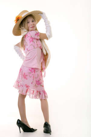 stole: cute little eight year old girl wearing white gloves and too big high heeled shoes