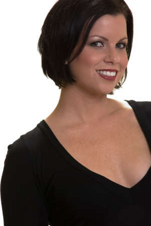 Attractive face shot of a short haired brunette in black shirt on white background Stock Photo - 729124