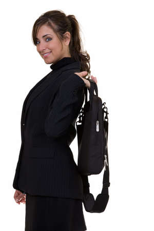 Attractive brunette business woman holding a briefcase looking confident standing on white Stock Photo - 857774