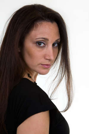 Portrait headshot of hispanic woman in her 30s wearing black top Stock Photo - 944492