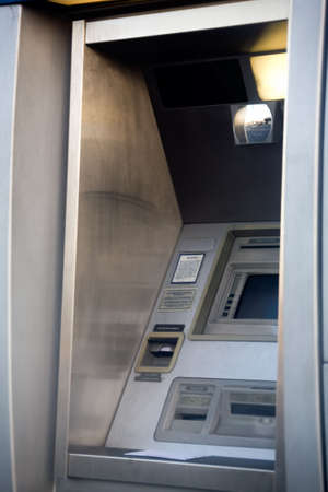 Framed shot of an outdoor all night instant bank machine Stock Photo