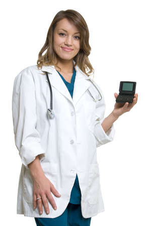 pager: Woman doctor in wearing a doctors lab coat holding up  an open pager showing blank screen standing on white