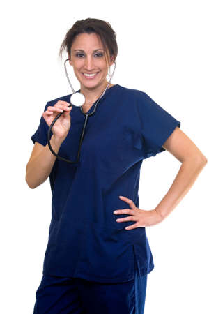 Confident Hispanic woman healthcare worker wearing dark blue scrubs holding the end of a stethoscope on white photo