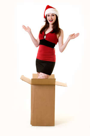 Beautiful sexy brunette woman wearing Santa hat coming out of a big box with hands up with happy expression Stock Photo - 1831370