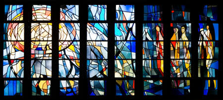 places of worship: Interior of church with many small square stained glass window designs