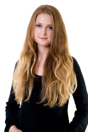 style: Beautiful young woman with long blond hair and blue eyes wearing black Stock Photo