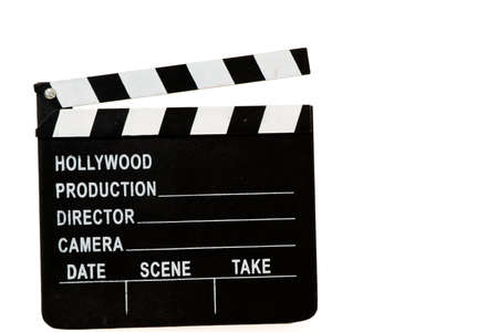 to cut: Black and white directors cut action sign isolated on white Stock Photo