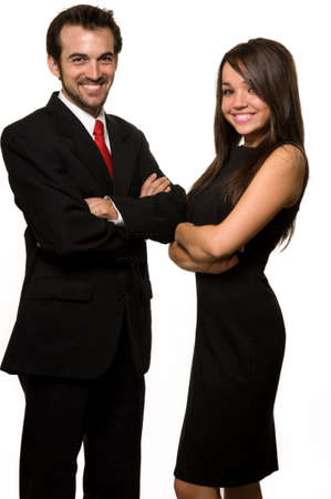 Two business people man wearing black business suit woman in black formal dress with arms crossed and friendly smiles over white Stock Photo - 3209332