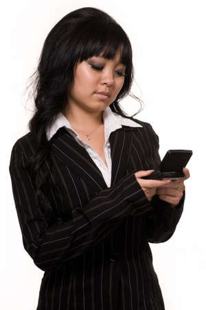 pager: a beautiful asian woman with long black hair  over white using pager