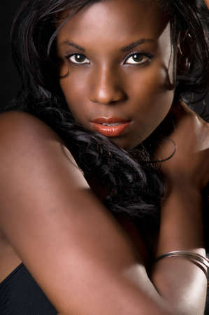 Attractive African American woman face up close Stock Photo