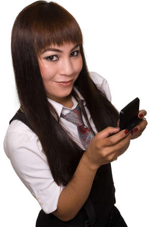pager: Attractive Asian woman in suit and tie holding a wireless pager