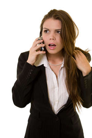 speechless: Long hair brunette business woman with dumbfounded or speechless expression holding a red telephone receiver
