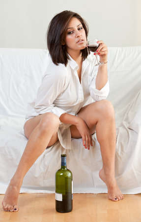 sleepwear: Beautiful twenties hispanic brunette woman Stock Photo