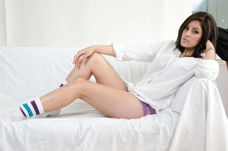 Beautfiul twenties hispanic woman in relaxed attire photo