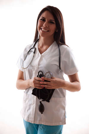 Pretty hispanic twenties healthcare worker photo