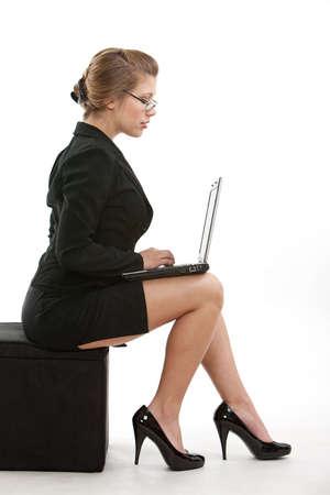 business woman legs: Beautiful caucasian blonde twenties woman
