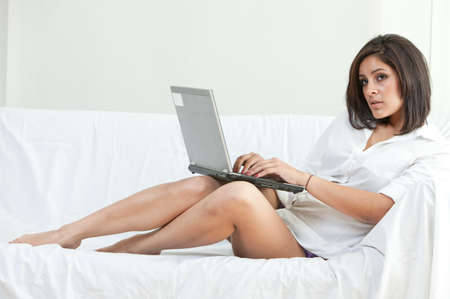 sleepwear: Beautiful twenties hispanic woman