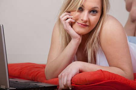 Attractive caucasian twenties woman relaxing photo