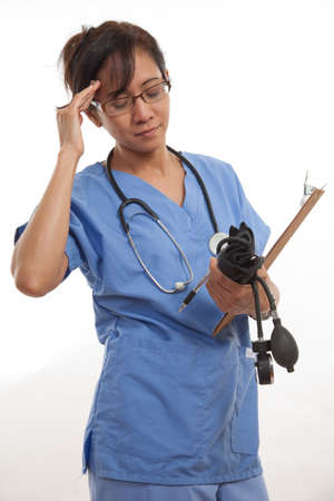 Attractive asian filipino nurse doctor healthcare worker photo