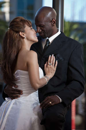 Modern attractive multi racial couple Stock Photo - 12069082