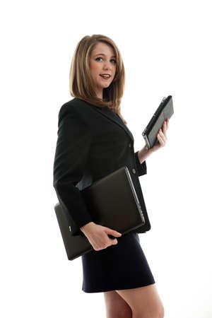 Pretty brunette caucasian american businesswoman photo