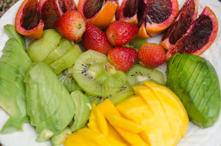 plateful: Plateful of assorted healthy fruit diet