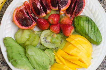plateful: Plateful of assorted healthy fruit diet
