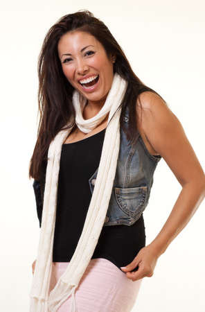 contented: Pretty native american indian fashion woman