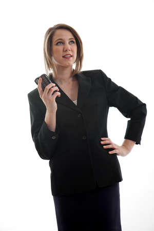 Beautiful blond caucasian business woman photo