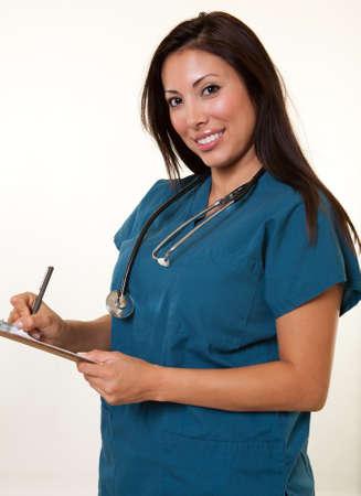 Pretty native american medical professional woman photo