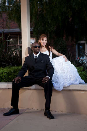 Forties asian african american multiracial wedding couple photo