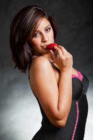 sleepwear: Attractive sexy twenties brunette hispanic fashion woman Stock Photo