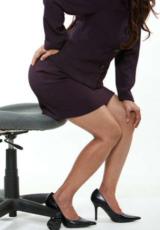 lower back: Forties asian business woman with back pain