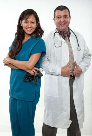 multi racial: Attractive multi racial nurse doctor medical team
