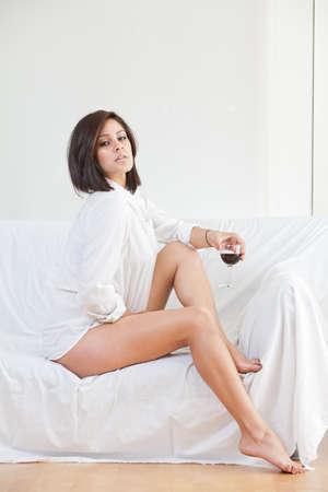 sleepwear: Pretty brunette hispanic american woman in her twenties