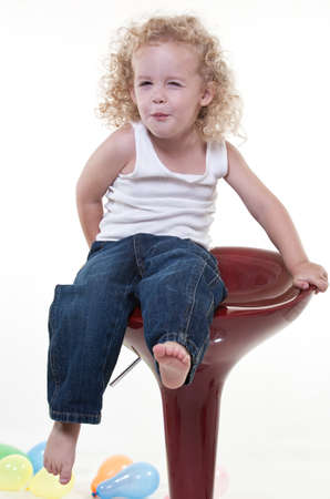 jew: Cute young blond toddler jewish boy playing